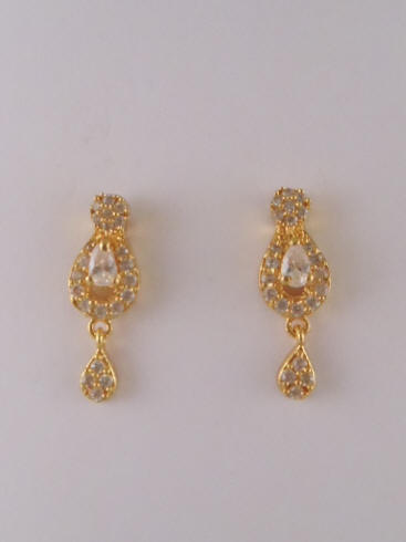 1gm Gold Earrings With Ruby Emerald Color Stones