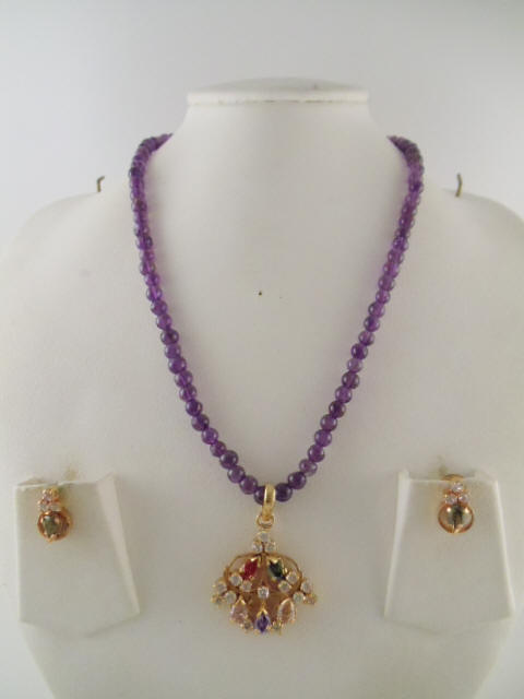 e0a64dc866a2db Pearl and Amethyst Necklace - 6mm beads with Amethyst and White Stone  Pendant and Earring 16