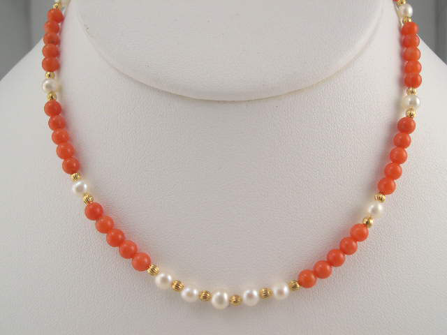 coral jewelry with pearl