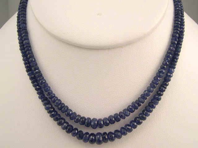 Sapphire Faceted Two Layer Necklace