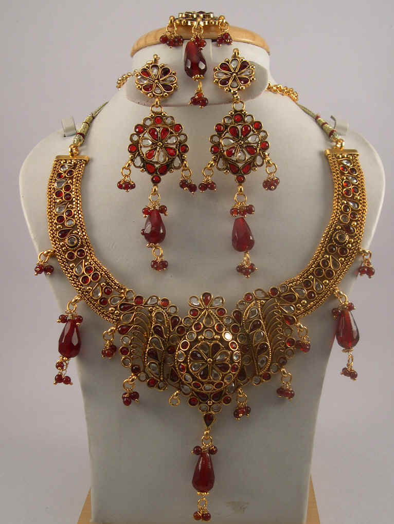 necklace anitique south india gold ruby mango jewels antique