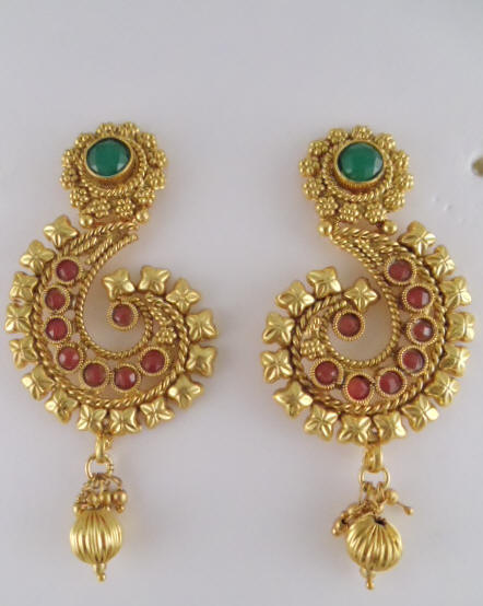 Antique Earring With Red Stones And Pearls 2 5 Long
