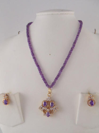 Amethyst Jewelry Made With Genuine 4mm Beads And White Stones Pendant Earring 18 Long Necklace Set