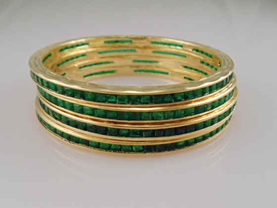 klein green jewelry stone anne gallery lyst bracelet product bangles no goldtone bangle in color