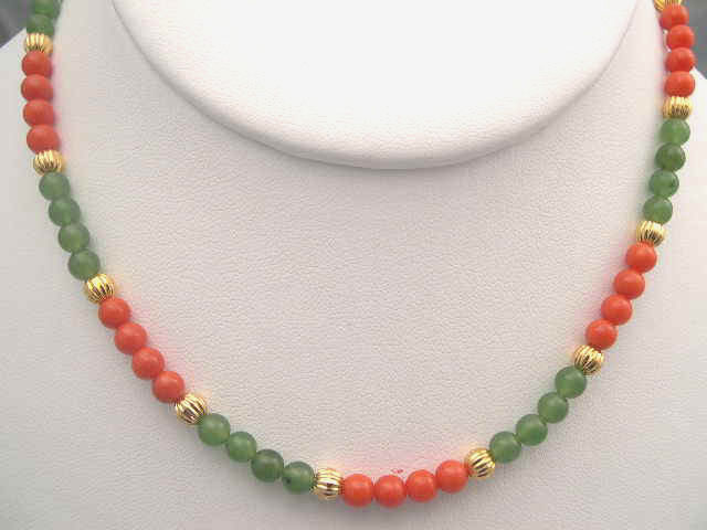 coral jewelry with jade