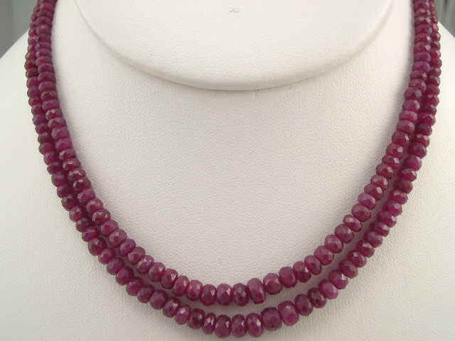 Ruby Faceted Two Layer Necklace