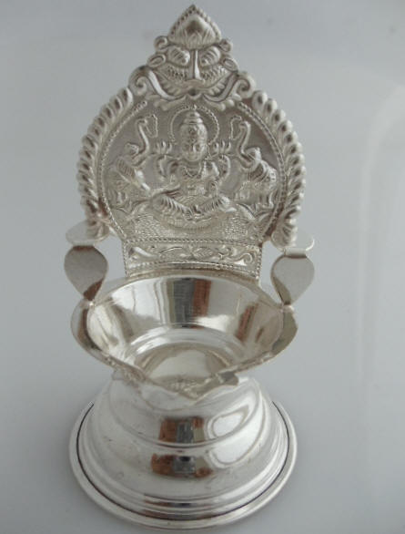 Pure silver oil lamps indian pooja oil lamps - Return gifts for housewarming ceremony ...